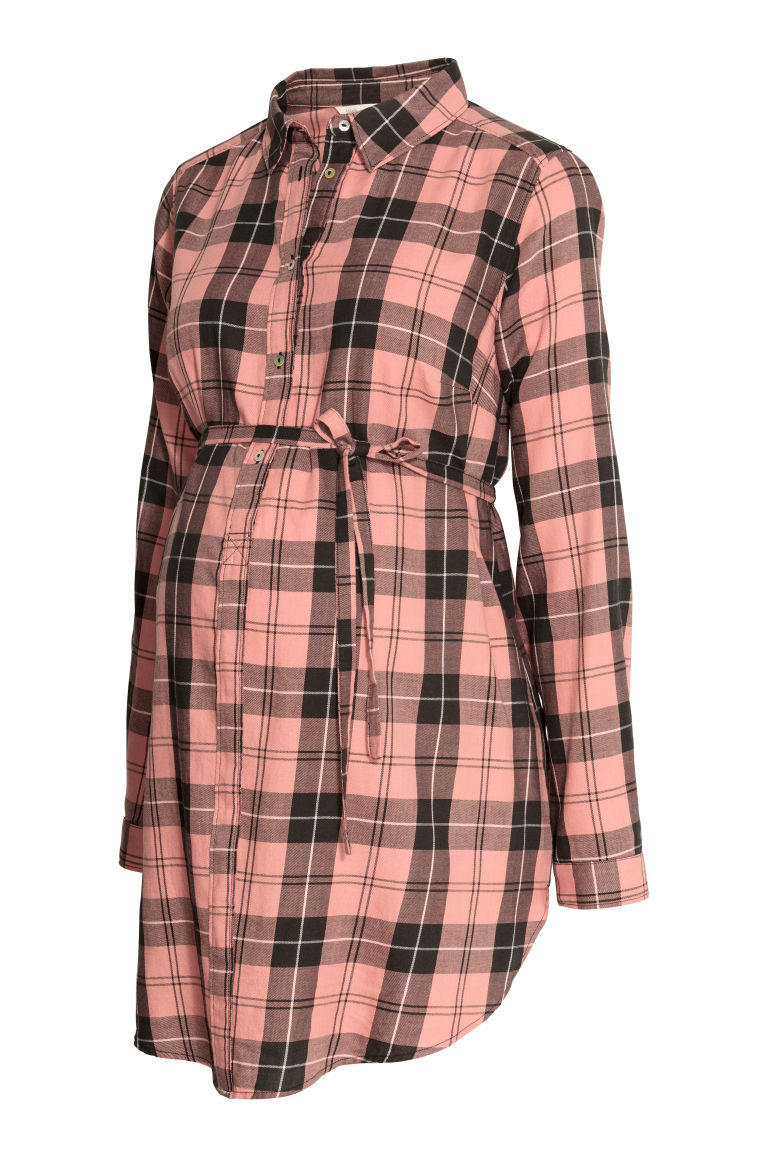 MAMA Cotton tunic - Pink/Black checked - Ladies | H&M