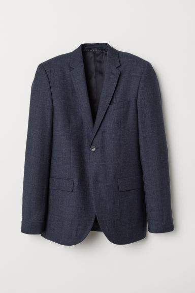 Wollen blazer - Slim fit - Donkerblauw gemêleerd - HEREN | H&M BE