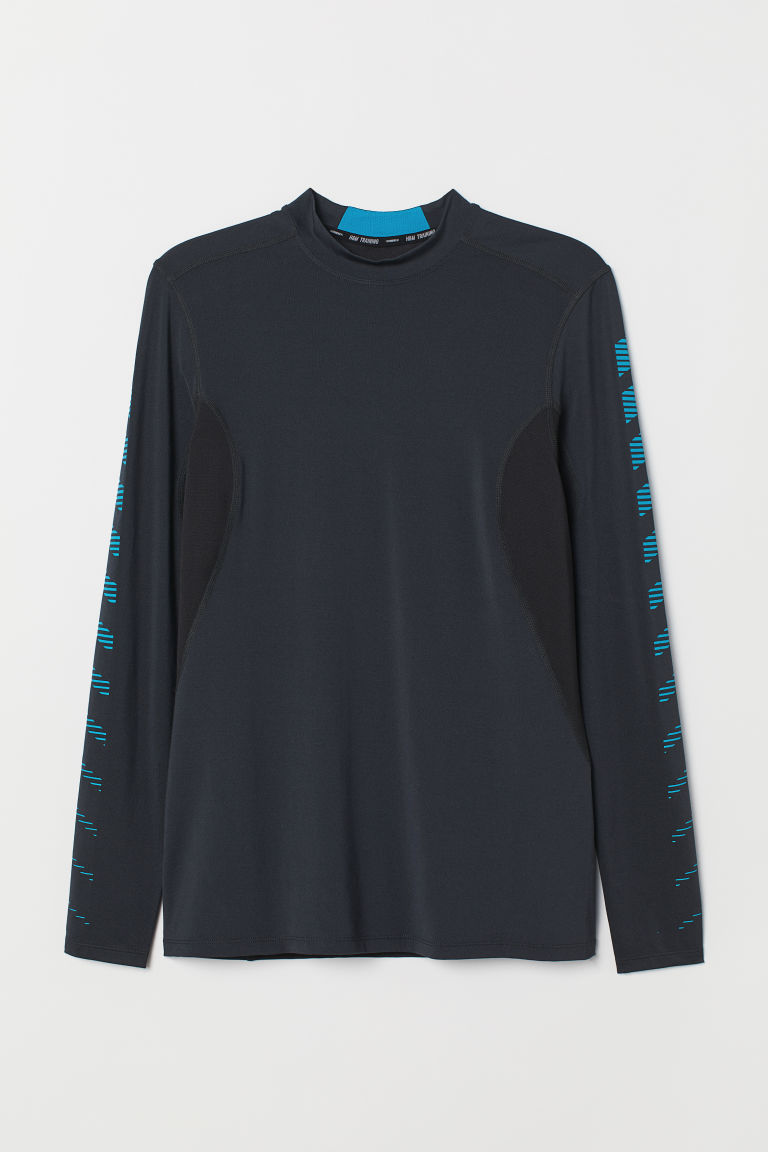 Long-sleeved sports top - Black/Blue -  | H&M CN