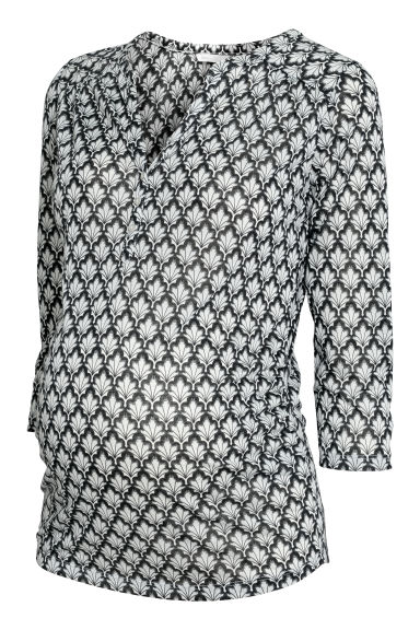 MAMA Patterned top - Black/White patterned - Ladies | H&M CN