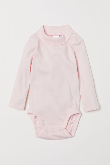 Polo-neck bodysuit - Light pink -  | H&M
