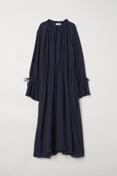 Silk-blend dress - Dark blue -  | H&M