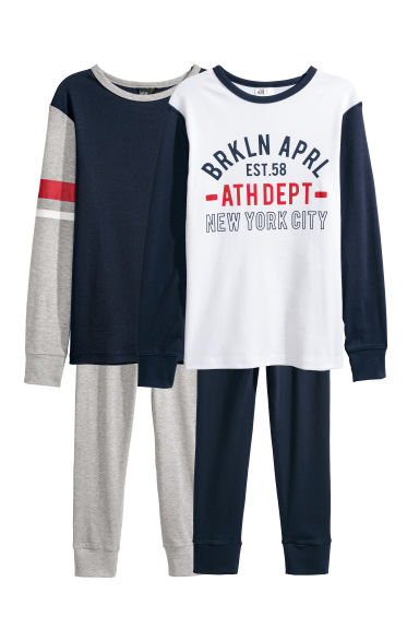2-pack jersey pyjamas - Dark blue/Brkln Aprl - Kids | H&M CN
