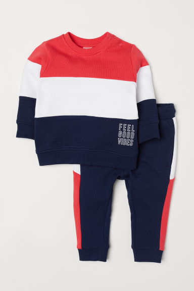 Sweatshirt and joggers - Dark blue/Red - Kids | H&M CN