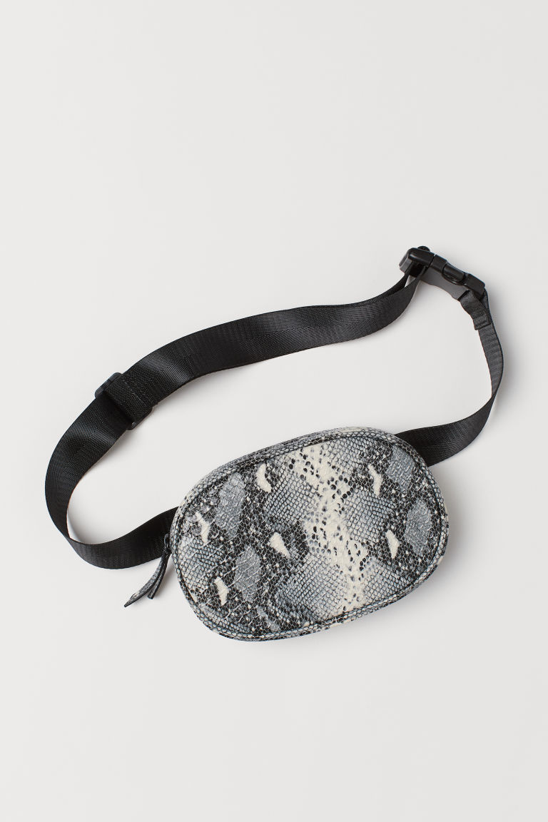 Waist bag - Black/Snakeskin-patterned -  | H&M GB