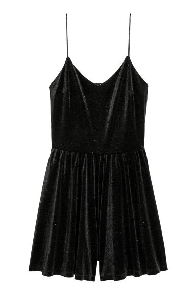 Velours playsuit - Zwart/glitters -  | H&M BE
