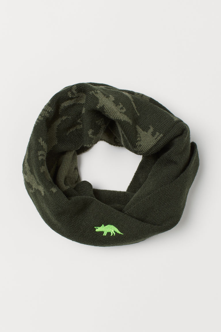Knit Tube Scarf - Dark green/dinosaurs - Kids | H&M US