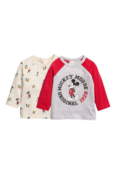 2-pack long-sleeved tops - Natural white/Mickey, Donald -  | H&M CN