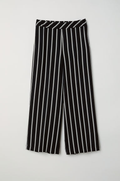 Ankle-length trousers - Black/White striped -  | H&M CN