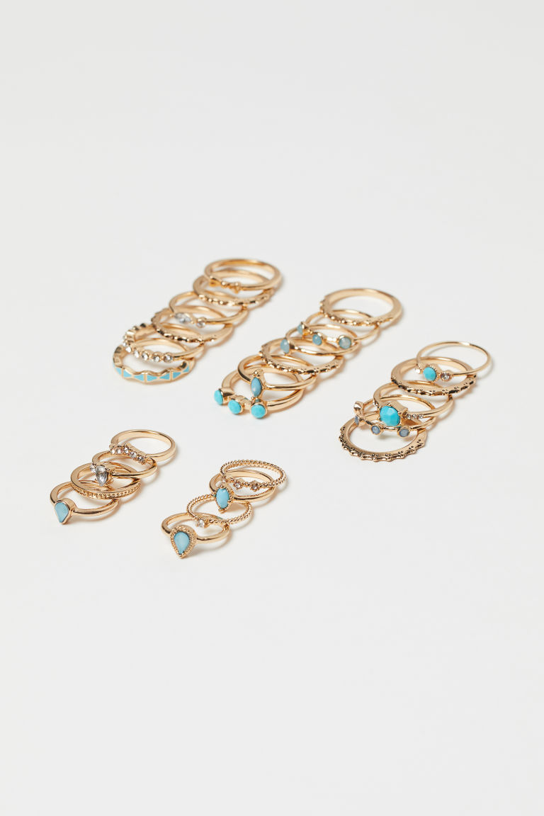 25-pack rings - Gold-coloured/Turquoise - Ladies | H&M IE