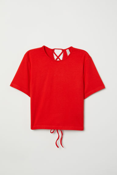 Top with lacing - Bright red - Ladies | H&M CN