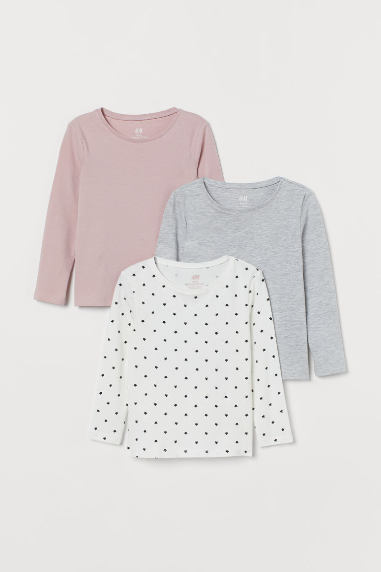 3-pack long-sleeved tops - Old rose/Stars - Kids | H&M IN