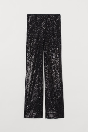 Wide sequined trousers