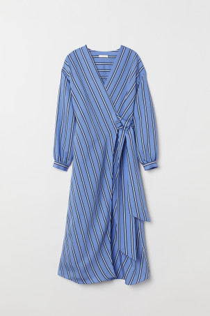 Striped Wrap-front Dress