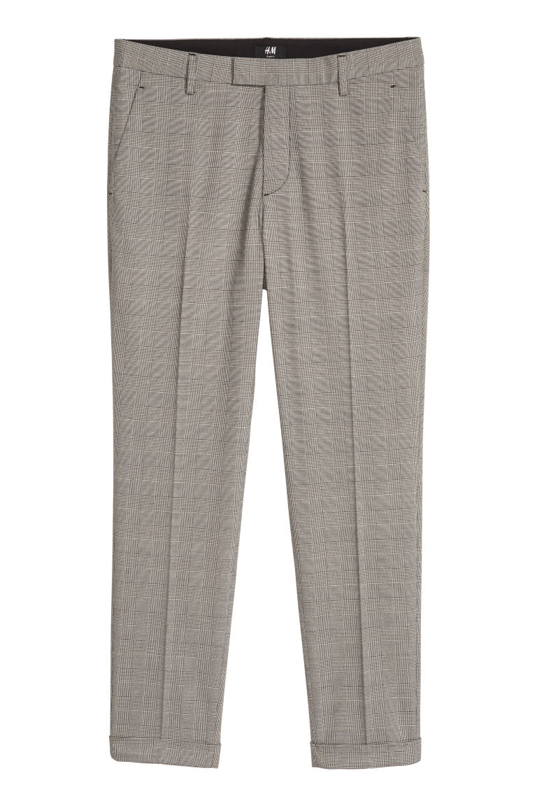 Checked suit trousers Slim fit - Grey/Black checked - Men | H&M CN