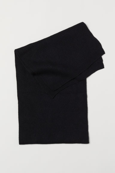 Ribbed cashmere scarf - Black - Men | H&M