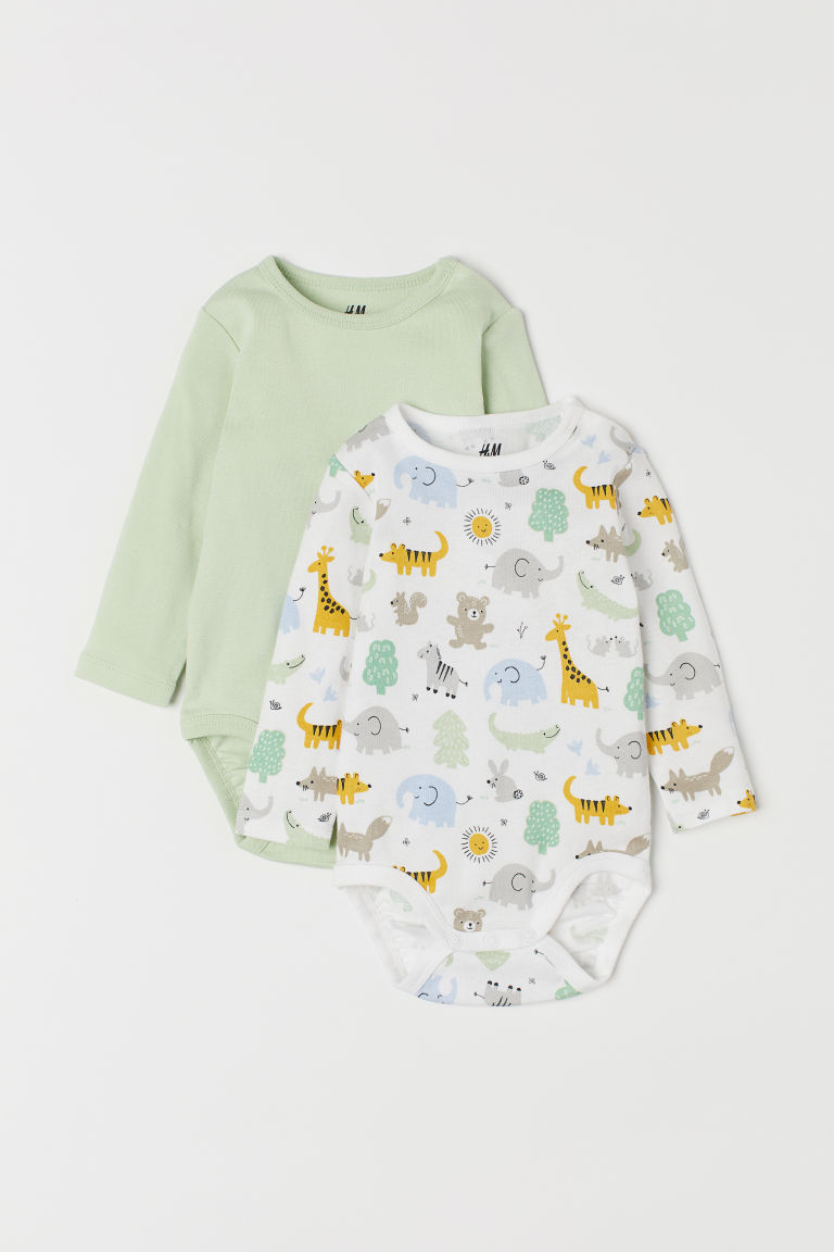 2-pack Long-sleeved Bodysuits - Light green/animals -  | H&M US