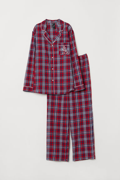 Pyjama shirt and bottoms - Red/White checked - Ladies | H&M