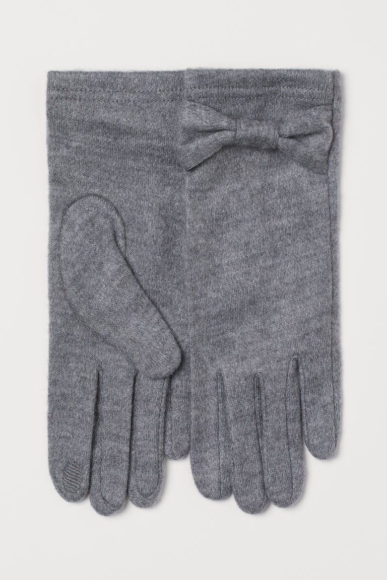 Fine-knit smartphone gloves - Grey marl - Ladies | H&M