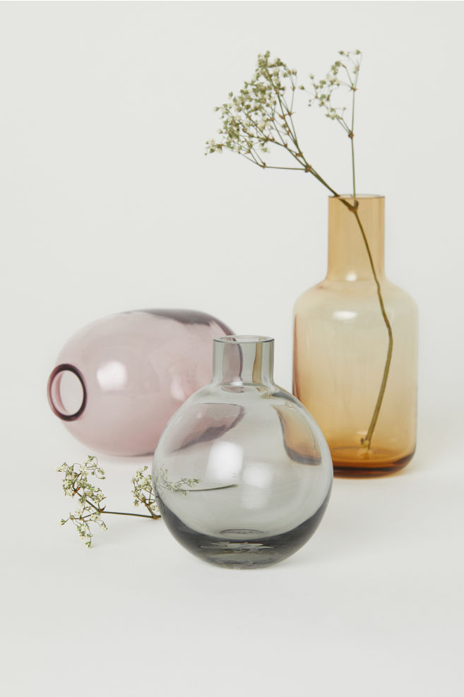 Clear Glass Mini Vase Pink Home All Hm Us