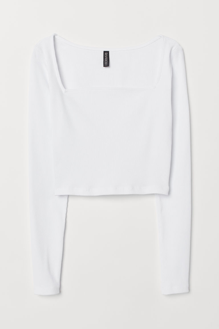 Short jersey top - White -  | H&M
