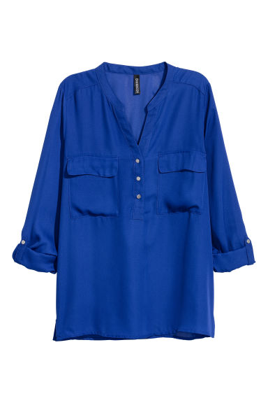 V-neck blouse - Bright blue - Ladies | H&M