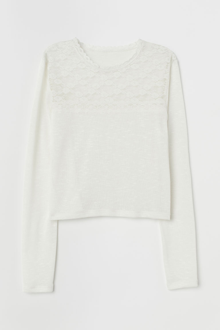 Top con carré in pizzo - Crema - DONNA | H&M IT