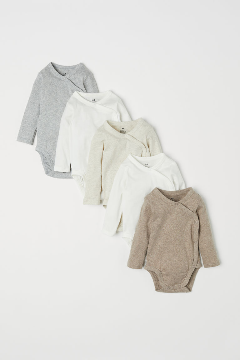 5-pack side-fastener bodysuits - Natural white - Kids | H&M IE