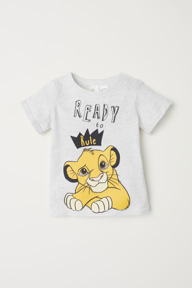 T-shirt with a print motif - Light grey/Lion King - Kids | H&M CN