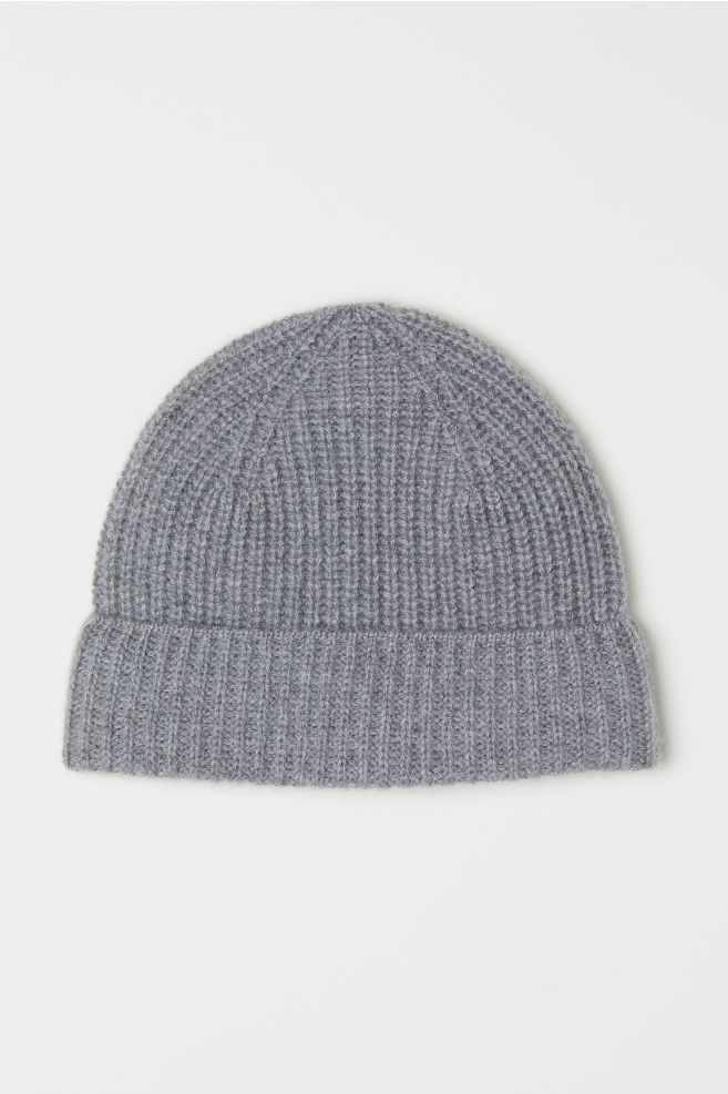 b7d32c34c2220 Ribbed Cashmere Hat - Gray melange - Men
