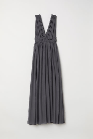 Long mesh dress - Dark grey - Ladies | H&M