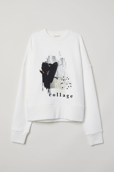 Felpa oversize - Bianco/collage - DONNA | H&M IT