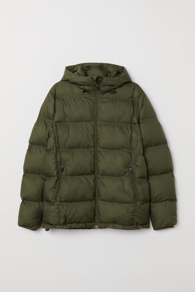 Padded hooded jacket - Dark khaki green - Men | H&M
