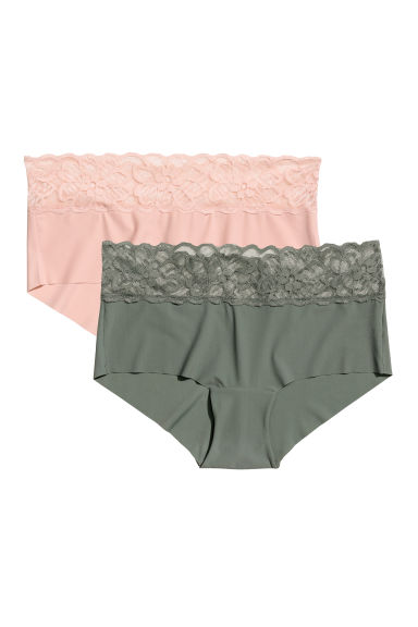 2-pack shortie briefs - Khaki green/Pink - Ladies | H&M GB