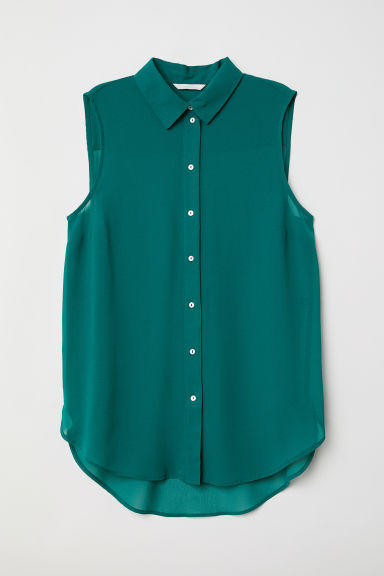 Sleeveless blouse - Dark green - Ladies | H&M CN