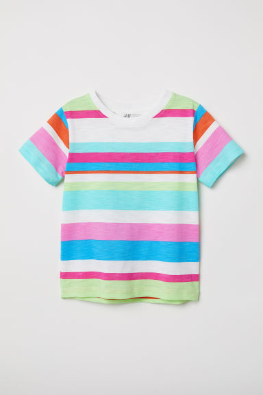 Printed T-shirt - White/Striped - Kids | H&M CN