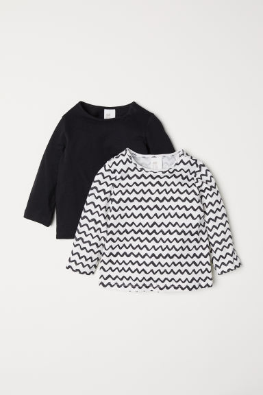 2-pack cotton tops - White/Patterned - Kids | H&M CN