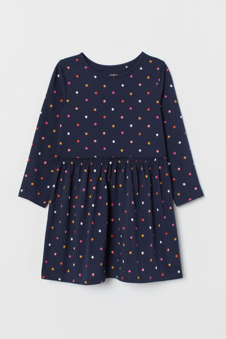 Patterned Jersey Dress - Dark blue/stars - Kids | H&M US