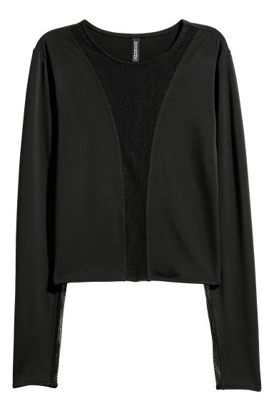 Long-sleeved jersey top - Black -  | H&M GB