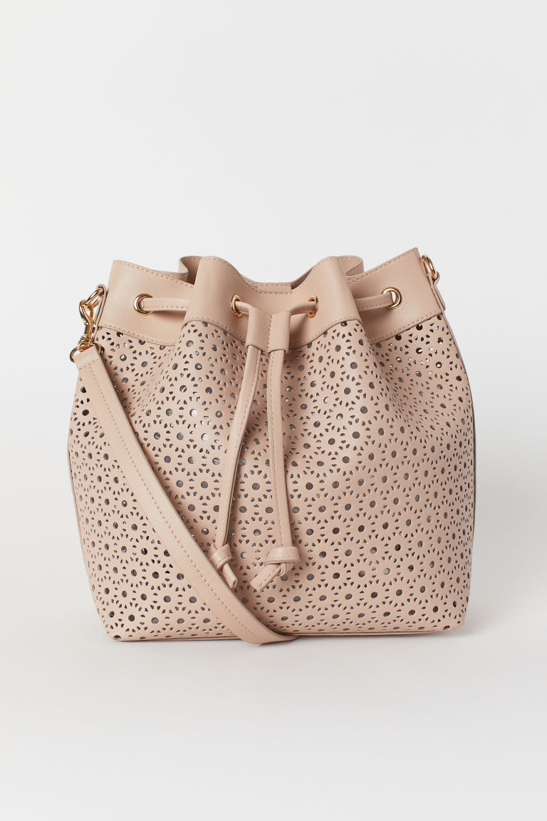 Perforated-patterned Handbag - Powder beige - Ladies | H&M US