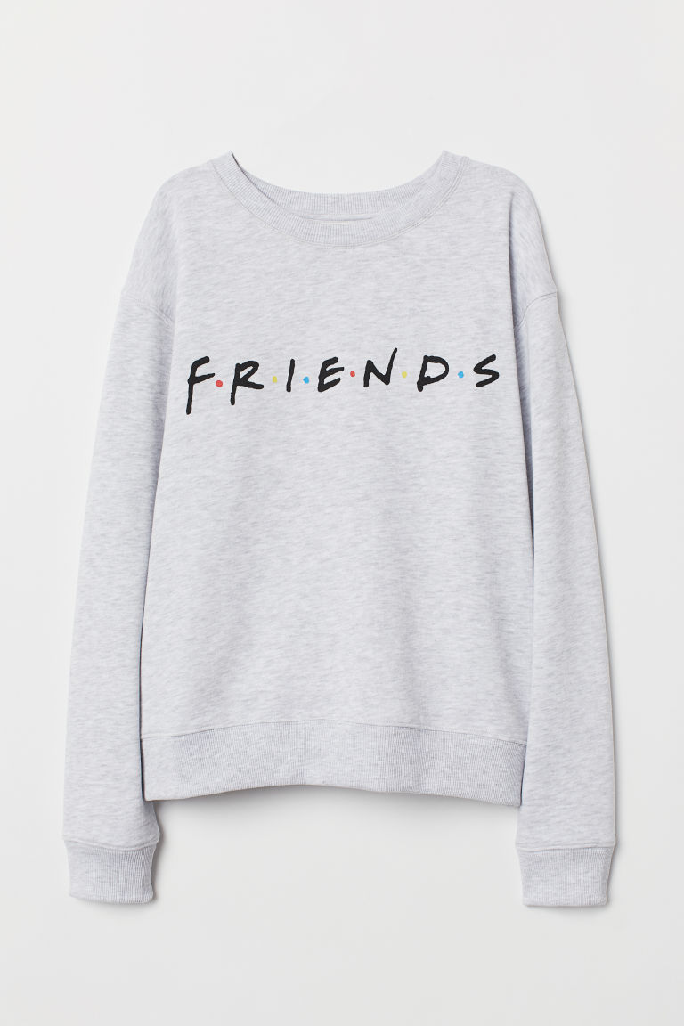 Printed sweatshirt - Light grey marl/Friends -  | H&M