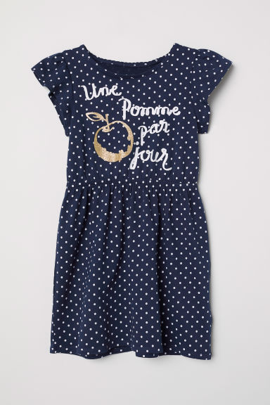 Printed jersey dress - Dark blue/Spotted - Kids | H&M