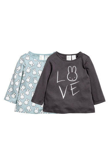 2-pack jersey tops - Dark grey/Turquoise - Kids | H&M CN