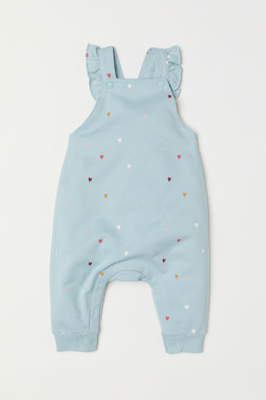 Jersey dungarees - Light turquoise/Hearts - Kids | H&M