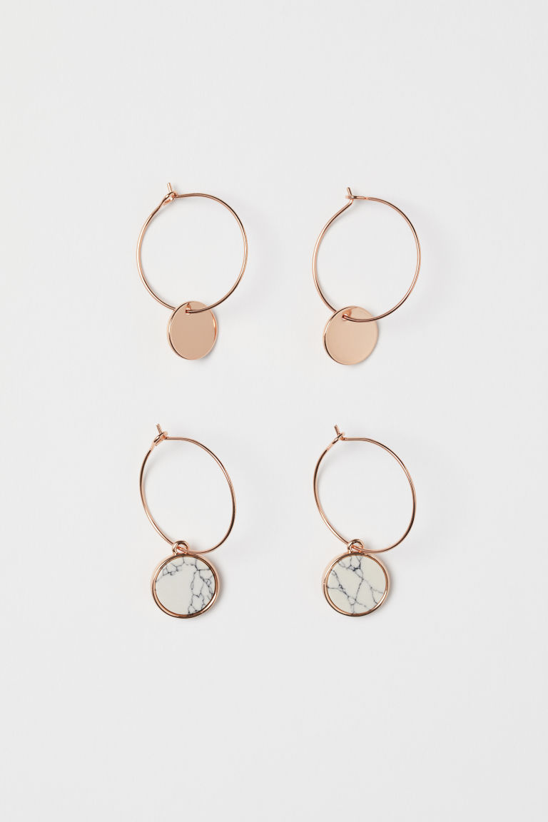 2 Pairs Earrings - Rose gold-colored/marbled - Ladies | H&M CA