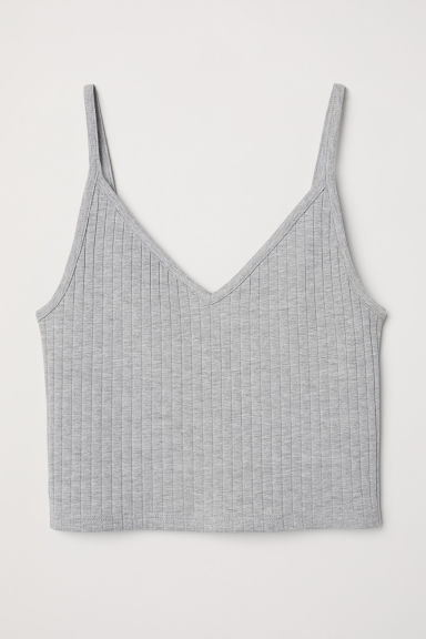 Cropped jersey strappy top - Grey marl - Ladies | H&M