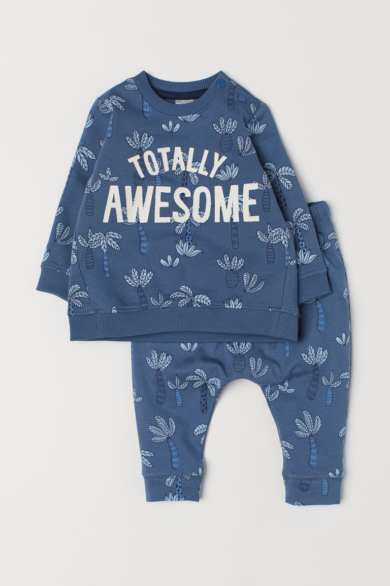 Top and trousers - Blue/Patterned - Kids | H&M