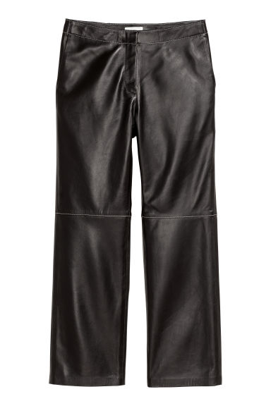 Ankle-length leather trousers - Black -  | H&M