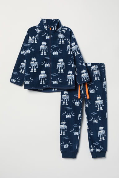 Patterned fleece set - Dark blue/Robots - Kids | H&M