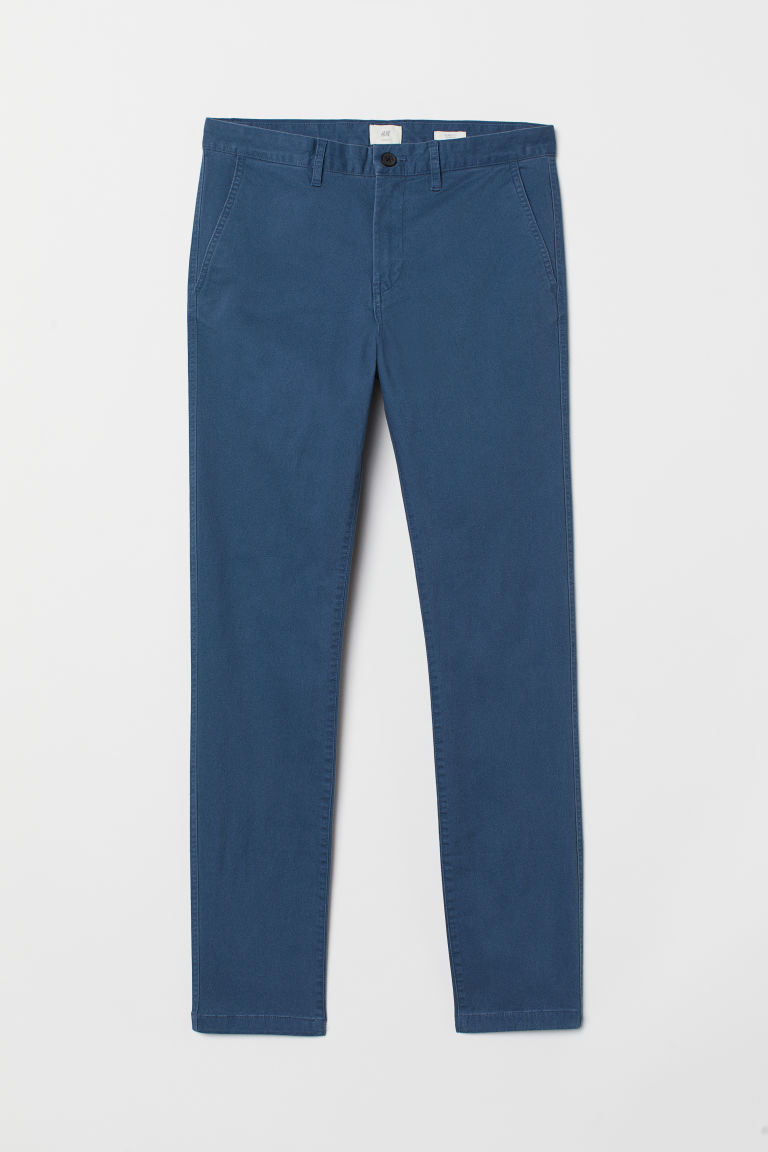 Cotton chinos Skinny fit - Blue - Men | H&M GB
